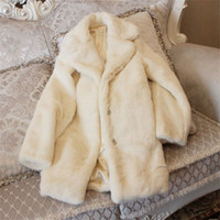 Wholesale Winter White Plush Coat - Winter new sweet warm white large lapel plush coat N46