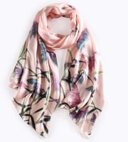 Wholesale Digital Print Silk Pashmina Scarf - [RSSILK] 175X52CM Women fashion floral silk scarf female hand rolled hem silk scarf digital print silk scarves pashmina female