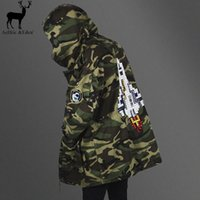Wholesale Camouflage Jacket Hoody - Wholesale- Aelfric Eden Winter Army Camouflage Jackets Thicken Longline Camo Hoody Jaqueta Masulina Justin Bieber High-quality Rocket Coats