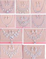 Wholesale Errings Silver - Fashion Bride Jewelry Necklace Errings Set Wedding Jewelry Wedding Dress Accessories Studio Accessories Rhinestones Necklace Earrings