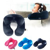şişirilebilir şekilli yastık toptan satış-U-Şekilli Seyahat Yastık Uçak Şişme Boyun Yastık Seyahat Aksesuarları için Rahat Yastıklar Uyku Ev Tekstili 3 Renkler için