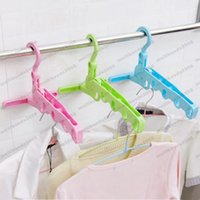 Wholesale Colorful Clothing Racks - 2017 NEW Colorful Collapsible 5-hole racks, bathroom drying rack door auxiliary hook FREE SHIPPING MYY