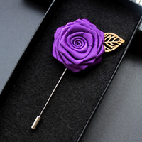 Wholesale Groom Brooch Boutonniere - Rose Corsage Groom Brooch Pin Man Wedding Satin Flowers Boutonniere Prom Tuxedo Party Accessories Decorations Multi colors for choice
