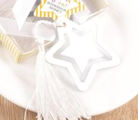 Wholesale Baby Shower Stars - 20pcs Silver Stainless Steel Star Bookmark For Wedding Baby Shower Party Birthday Favor Gift Souvenirs Souvenir CS011