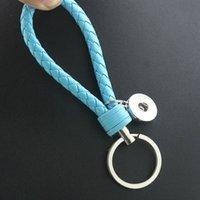 Wholesale Keychain Braided - Noosa PU Leather Snap Button Keychain Braided Snap Button Key Chain Keyrings Fit 18mm Snap Charms Unisex keychains vairous colors