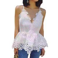 Wholesale Crochet Lace Singlet - Wholesale- GT105 Women Sexy Deep V Neck Stripe Mesh Insert Lace Crochet Peplum Camis Flounce Top Singlet Vest