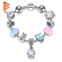 Wholesale Bear Kitty - BELAWANG Murano Glass&Crystal Bead Mix Style Lovely Cartoon Teddy Bear Owl Kitty Charm Bracelets&Bangles For Girls Lovely Fashion Jewelry