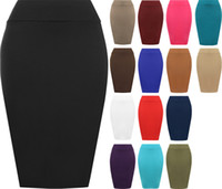 Wholesale Ladies Knee Length - New Sexy Womens Plain Bodycon Pencil High Waisted Ladies Stretch Midi Skirt Free Shipping Womens Plain Bodycon Pencil Ladies Stretch CL095