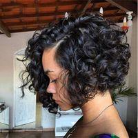 pelucas delanteras del cordón de malasia ondulado al por mayor-Bob pelucas onduladas de onda profunda para las mujeres negras frente a encaje de la Virgen de Malasia Bob peluca 12-24 pulgadas G-EASY