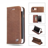 Wholesale Plastic Cases For Business Cards - Vintage Retro Flip Stand Business Leather Case With Card Slot Kickstand Case For Samsung S8 plus Iphone 7 6s plus With Retail Package