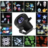 Wholesale Outdoor Christmas Decorations Uk - Holiday Decoration Christmas LED Rotating Projector Lamp 12 Pattern Replaceable Lens Indoor Outdoor Garden Lamp Holiday Lights