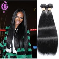 Wholesale virgin brazilian real human hair for sale - Group buy Top Quality Brazilian Hair Straight Bundles inch Unprocessed Real Human Hair Extension Natural Black color