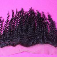 bakire saç kıvırcık kıvırcık ön toptan satış-8A Brazalian Virgin İnsan Saç Sapıkça Kıvırcık Dantel Frontal Kapatma 13