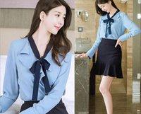 Wholesale Temperament White Korean Blouse - 2017 spring new Korean ladies fashion temperament shirt female OL white-collar blouse + step short section was thin bag hip skirt