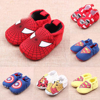Wholesale Man Shoes Wholesale - Baby Shoes Infant Boys Girls Walkers Shoes Batman Captain America Spider man Super Man Winnie the Pooh