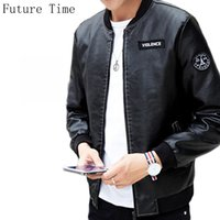 Wholesale Korea Men Pu Jacket - Wholesale- 2017 New autumn mens jacket PU leather long sleeve slim jackets plus size korea Fashion casual stand collar patch design YF069