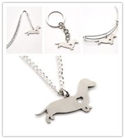 Wholesale Dachshunds Charms - Dachshund dog NECKLACE charm heart cute dog pet i love dogs charm pendant necklace bangle keyring bookmark