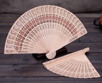 Wholesale Cheap Folding Fans - Bridal Wedding Fans Chinese Wooden Fans Bridal Accessories Handmade 8'' Fancy Cheap Wedding Favours Small Gifts for Guests Ladies Hand Fans