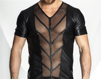 Hot Sexy Dessous Plus Size Männer Exotische Tanks Catsuit Latex PU Nachtwäsche Sexy Herren sehen durch Top Tanks Shirts Exotic Man