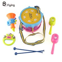 Wholesale Percussion Band Instruments - Wholesale- 5pcs Roll Drum Handbell Musical Percussion Instruments Band Kit Kids Children Rattle Christmas Gift