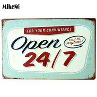 Wholesale Ordering Metal Art Wholesale - Wholesale- [ Mike86 ] Open 24 7 Bar Metal Signs PUB Wall art Painting Retro Poster Bar Craft Decor AA-160 Mix order 20*30 CM