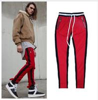 Wholesale Plaid Flannel Pants - 2017new justin bieber Fear of God 90s korean hip hop fashion clothing kanye unise jumpsuit jogger side zipper track pants stripe sweatpants