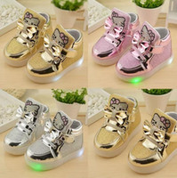 Wholesale children shoes for sale - 3 colors Girls Sneakers Kids hello kitty Led Lighting Shoes Child Casual Athletic Shoes Baby Luminous Flat Shoes