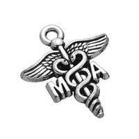 Wholesale Vintage Nurse - Hot Vintage Silver Plated Retro I Love Nursing Nurse Practitioner NP Caduceus Charm Pendant