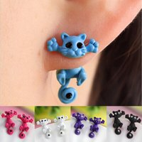 5 colors black cat ears - New Fashion Women s Girl s Cat Puncture Ear Stud Piercing Earrings Crystal Alloy Cute GA12