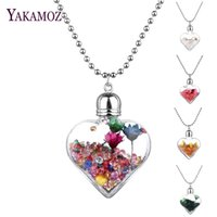 Wholesale Transparent Bottle Necklace - Wholesale- Transparent Heart Glass Bottle Pendants & Necklaces Jewelry Rhinestone Big Dried Flower Wish Bottle Lovers Long Necklaces 2017