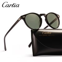 erkek güneş gözlüğü toptan satış-Polarize güneş gözlüğü kadın güneş gözlüğü carfia 5288 oval tasarımcı güneş gözlüğü erkekler için UV koruma acatate reçine gözlük kutusu ile 3 renkler