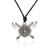 Wholesale Double Rope Necklace - Newest Design Viking Axe Barbarian Gladiator Medieval God Jewelry Double Axes Shield Necklace Stainless Jewelry