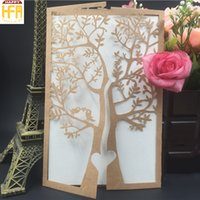 Wholesale Tree Paper Laser Cut - Laser Cut Wedding Invitations Paper Wed Invitation Love Tree Hollow Design Marriage Cards Bridal Shower Party