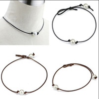 Wholesale Black Pearl Choker - Handmade Single Pearl Leather Choker Necklace on Genuine Black Brown Leather Cord For Women Fashion Imitation Natural Freshwater Pearl