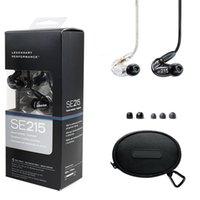 kulaklık temizle toptan satış-Se215 Kulaklık İngilizce sürümü siyah Clear Kulak Kulaklık Handsfree Kulaklık En Kaliteli