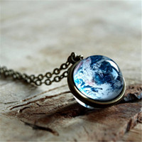 Wholesale Planet Pendant - 12pcs lot Earth necklace Planet Earth Glob Solar system necklace Space jewelry Glass dome necklace