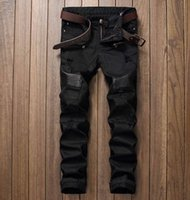Wholesale Leather Mens Pants - Wholesale- Fashion Designer Mens Ripped Biker Jeans Leather Patchwork Slim Fit Black Moto Denim Joggers For Male Distressed Jeans Pants