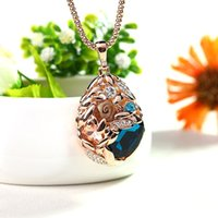 Wholesale Trendy Sweaters For Women - Fashion Ethnic Style Big Crystal Wheat Sweater Chain Statement Pendant Necklace Jewelry Trendy For Women Accessories