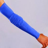 ingrosso maniche di braccio di basket blu-All'ingrosso-blu traspirante a prova di gomito a nido d'ape gomito pad protector guardie pastiglie di pallacanestro elastico sudore manica del braccio scalda