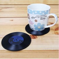 Wholesale Table Mats For Tea Cups - Home Table Cup Mat Creative Decoration Coffee Tea Drink Placemat CD Record Drinks Coasters for Home Decoration Household Supplies