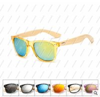 Wholesale Men Sport Sunglases - Original Wooden Bamboo Sunglasses Men Women Mirrored UV400 Sun Glasses Wood Shades Outdoor Goggles Sunglases