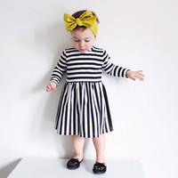 Wholesale cartoon chinese dresses - INS Girls stripe Princess Dress New Children cartoon INS Striped Long sleeve dresses kids dress