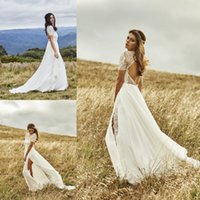 Wholesale Wedding Dress Shorter Front - Stunning 2017 Beach Bohemian Wedding Dresses Short Sleeve Lace Vestidos de Novia Side Split Summer Wedding Gowns Bridal Dress