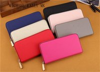 Wholesale Hot Pink Gold - Hot! wholesale 2017 MICHAEL KALLY famous brand fashion single zipper cheap luxury women pu leather wallet lady ladies woman long purse