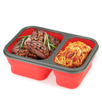 Wholesale Wholesale Bento Lunch Boxes - 2 Cells Silicone Collapsible Portable Bento Box 1000ml Microwave Oven Bowl Folding Food Storage Lunch Container Lunchbox