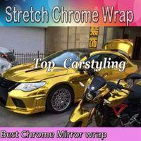 vinylfolie chrom großhandel-Beste Qualität Stretchable Gold Chrome Spiegel Vinyl Wrap Film für Auto Styling folie luftblasenfrei