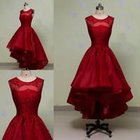 красивые высокие платья выпускного вечера оптовых-Красивые O-образный вырез из органзы платья выпускного вечера с бисером молния назад платья выпускного вечера Vestido De Fiesta Платья для особых случаев
