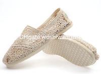 Wholesale beige dance shoes - Summer fashion women lace hook flowers hollow lazy shoes Canvas shoes Dance Flat low help set foot shoes