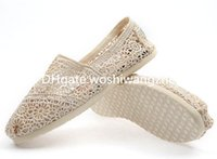 Wholesale dance feet - Summer fashion women lace hook flowers hollow lazy shoes Canvas shoes Dance Flat low help set foot shoes