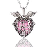 Wholesale Strawberry Necklace Charms - Pregnant Woman's Strawberry angel wings Design Bell Sounds Bead Antique Long Chain Necklace ketting collana Gift Hollow Pendant